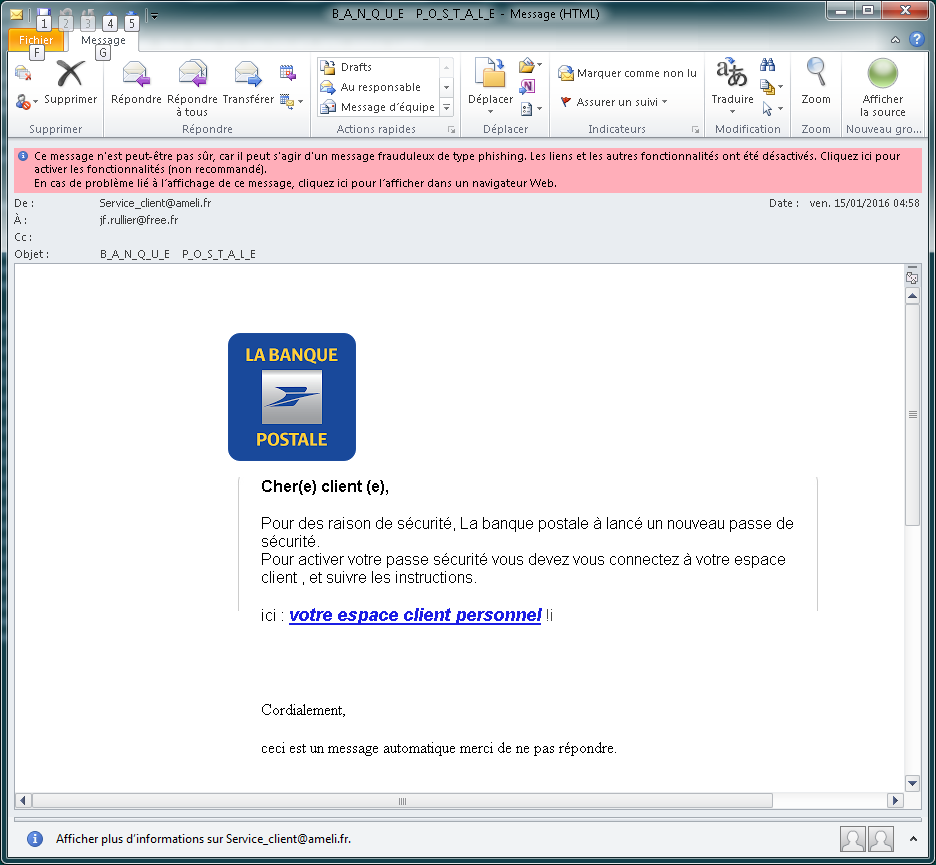 Email banque postale